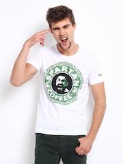 Kook N Keech Men White Spartan Print T-shirt
