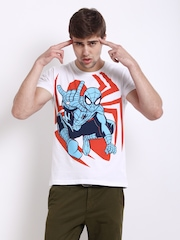 Kook N Keech Marvel Men White & Blue T-shirt