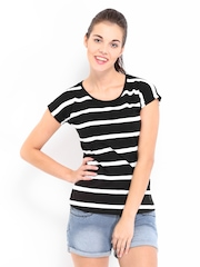 Kook N Keech Women Black and White Striped Top