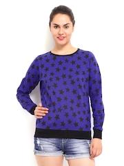 Kook N Keech Women Blue & Black Printed Sweatshirt