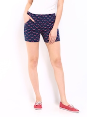 Kook N Keech Women Navy & Pink Printed Shorts