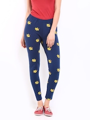 Kook N Keech Women Navy & Yellow Printed Leggings