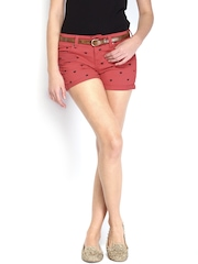 Kook N Keech Women Red Printed Denim Shorts