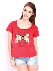 Kook N Keech Women Red Printed T-shirt