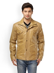 Kosher Men Brown Leather Jacket
