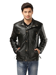Kosher Men Black Leather Jacket