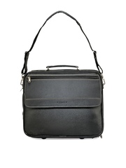Unisex Black Leather Trolley Bag Kosher