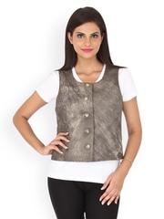 Kosher Women Grey Leather Waistcoat