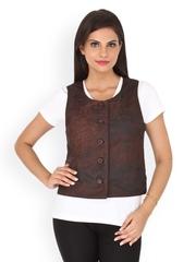 Kosher Women Brown Leather Waistcoat
