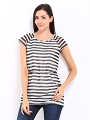 Kraus Jeans Women Black & Off-White Striped Tunic