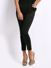 Kraus Jeans Women Black Printed Cropped Jeggings