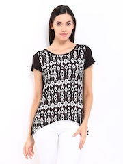 Kraus Jeans Women Coffee Brown & White Printed Top