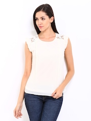 Kraus Jeans Women Cream Coloured Top