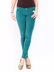 Kraus Jeans Women Green Slim Fit Corduroy Trousers