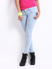 Kraus Jeans Women Ice Blue Ankle Length Slim Fit Jeans