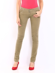 Kraus Jeans Women Beige Slim Fit Corduroy Trousers
