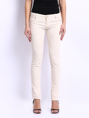Kraus Jeans Women Cream Coloured Slim Fit Corduroy Trousers