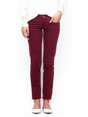 Kraus Jeans Women Maroon Corduroy Trousers