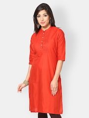 Kurtis Women Orange Kurta