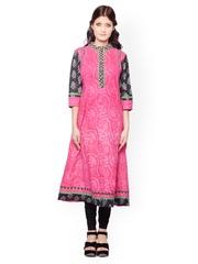 Kurtis Women Pink & Black Printed Kurta