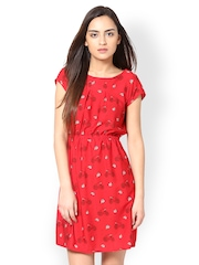 L ELEGANTAE Red Printed Shift Dress
