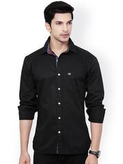 L.A. SEVEN Men Black Slim Fit Casual Shirt