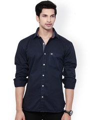 L.A. SEVEN Men Navy Slim Fit Casual Shirt