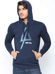 Linkin Park by Free Authority Men Navy Printed Hooded Sweatshirt