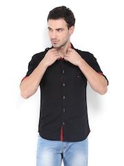 Locomotive Men Black Slim Fit Casual Shirt