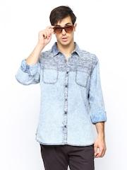 LOCOMOTIVE Men Blue Denim Casual Shirt