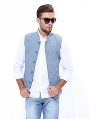 LOCOMOTIVE Men Blue Slim Fit Nehru Jacket