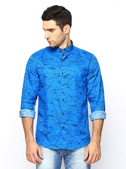 LOCOMOTIVE Men Blue Tailored Fit Casual Shirt