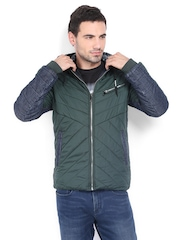 LOCOMOTIVE Men Green Padded Hooded Jacket