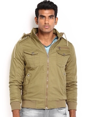 Locomotive Men Brown Hooded Jacket
