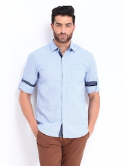 Locomotive Men Blue Checked Slim Fit Casual Shirt