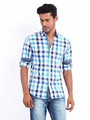 Locomotive Men Blue & White Checked Slim Fit Casual Shirt