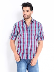 Locomotive Men Red & Navy Checked Slim Fit Casual Shirt
