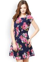 La Zoire Navy Printed Fit & Flare Dress