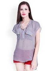 La Zoire Women Grey Sheer Top