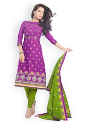 Lacxo Purple & Green Cotton Embroidered Unstitched Dress Material