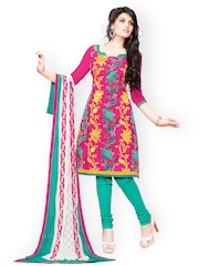 Lacxo Pink & Teal Green Embroidered Cotton Unstitched Dress Material