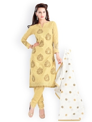 Lacxo Yellow Cotton Embroidered Unstitched Dress Material