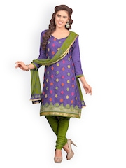 Lacxo Purple Cotton Embroidered Unstitched Dress Material