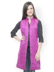 Lavennder Women Green & Magenta Sleeveless Reversible Jacket