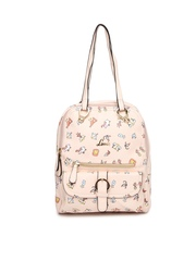 Lavie Peach-Coloured Printed Backpack cum Shoulder Bag