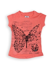 Lee Cooper Girls Coral Orange & Black Printed T-shirt