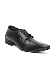 Lee Cooper Men Black Leather Semi-Formal Shoes