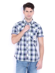 Lee Cooper Men Blue & White Checked Slim Fit Casual Shirt