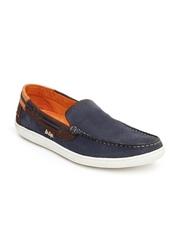 Lee Cooper Men Blue Leather Loafers