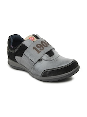 Lee Cooper Men Grey & Black Leather Casual Shoes